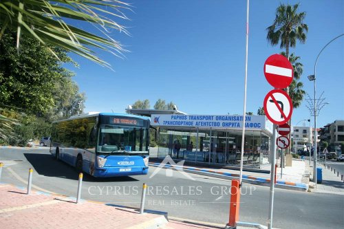 Paphos Transport Organisation - bus stop by Paphos harbor, Cyprus