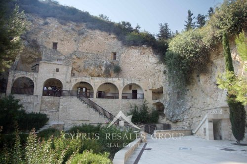Cave with the cell of Saint Neophytos (Enkleistra) - 12th century monastery on the mountain in Tala, Cyprus